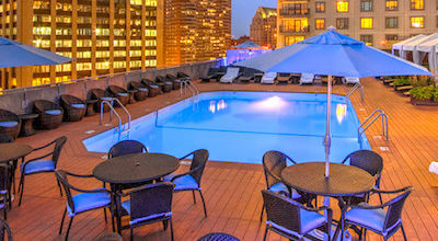 Rooftop swimming pool at Colonnade Hotel in Boston