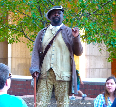 Reenactor portraying Crispus Attucks on Boston Freedom Trail