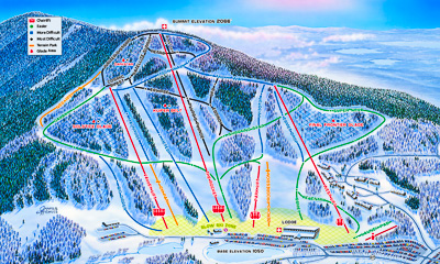 New England ski areas include Crotched Mountain in NH