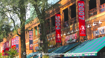Boston Red Sox schedule for September - World Series win banners outside Fenway Park