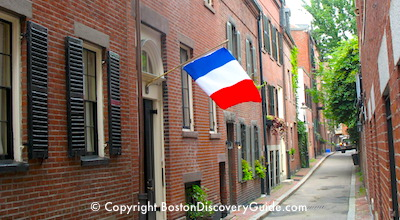 French flag flying in Boston's Beacon Hill neighborhood