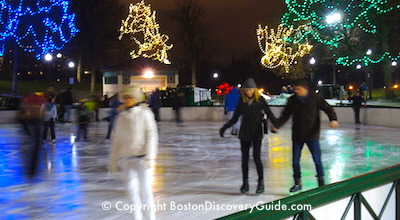Ice skating on Frog Pond in Boston Common
