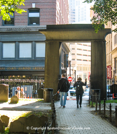 Egyption style entrance to Boston's  Granary Burying Ground