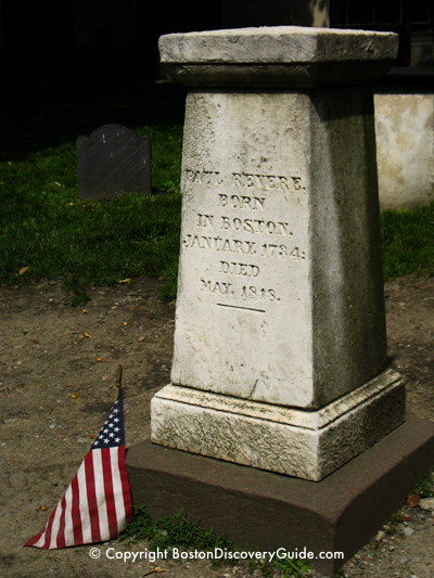 Paul Revere tombstone in Granary Burying Ground