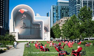 Barbara Echelman aerial sculpture on Boston's Greenway