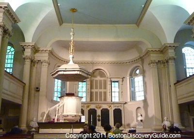 Interior of King's Chapel on Boston's Freedom Trail