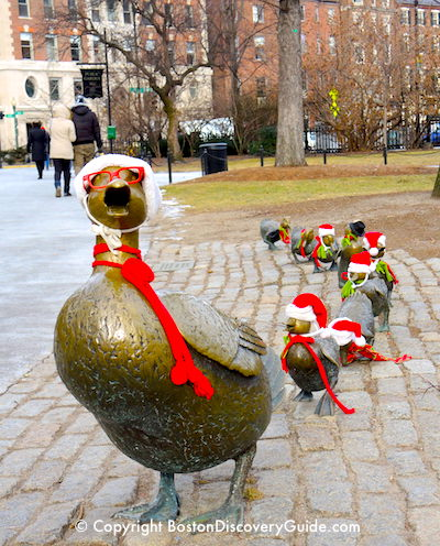Make Way for Ducklings statues dressed in holiday attire