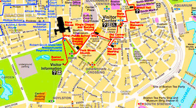 Map Of Downtown Boston Best Boston Map for Visitors   Free Sightseeing Map   Boston