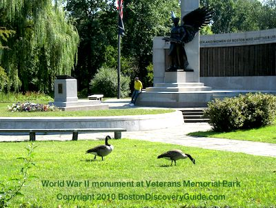 World War II Memorial in Veterans Memorial Park in Boston's Back Bay Fens