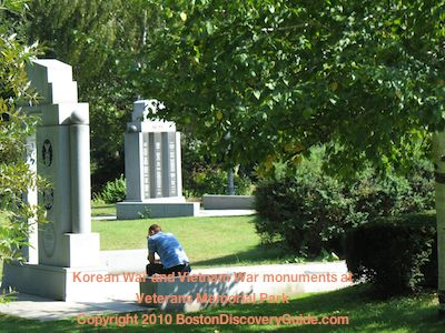 Korean War and Vietnam War Memorials in the Sergeant Charles Andrew MacGillivary Memorial area in the Fens in Boston MA