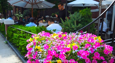 Outdoor dining in Boston's Back Bay neighborhood