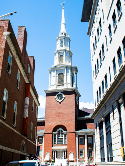Park Street Church on Boston's Freedom Trail viewed from Hamilton Court