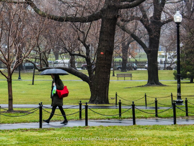 Walking across Boston Common in the rain