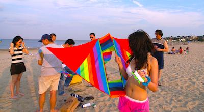 Revere Beach - flying kites