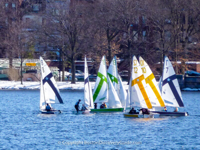 Boston sailboats in January in the Charles River