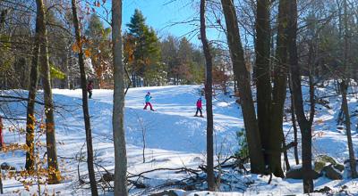 Skiers on Wachusett Mountain