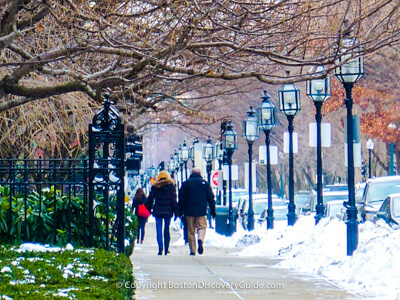 Walking along Comm Ave on a snowy day in Boston