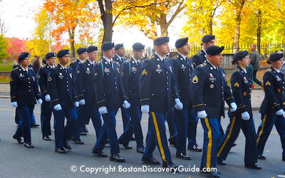 Marchers in Boston's Columbus Day Parade