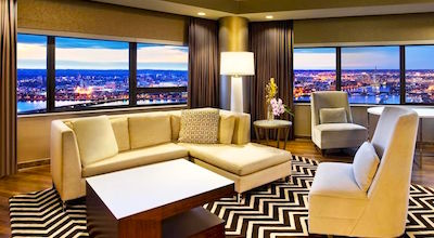 See the panoramic river view at the Westin Copley Place in Boston - perfect for July 4 fireworks