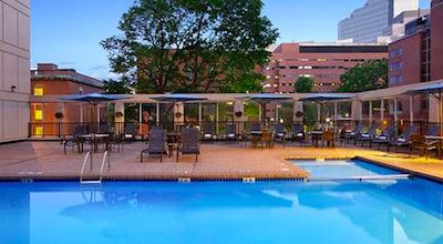 Wyndham Hotel Boston outdoor swimming pool on roof deck