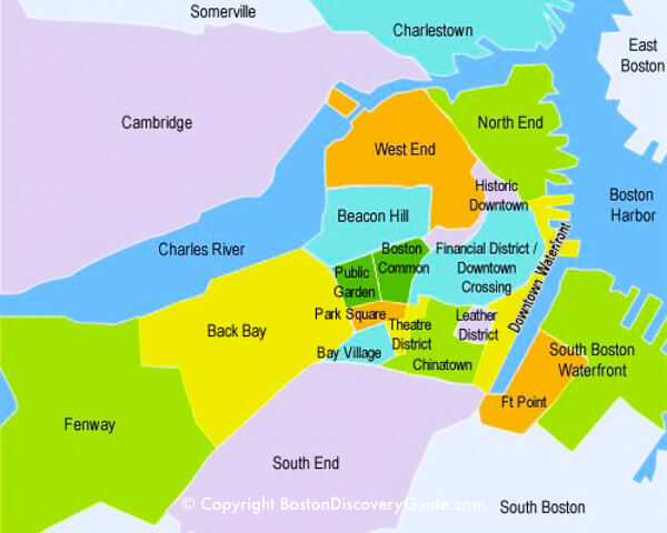 Boston Map Historical Sites.Boston Discovery Guide Plan Your Boston Vacation