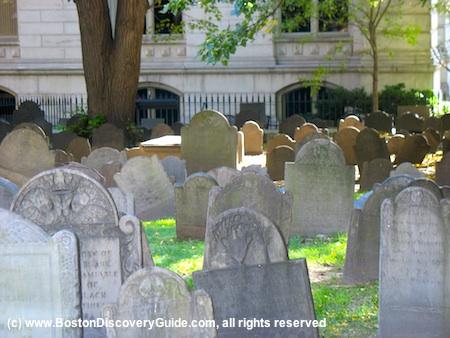 Picture of 17th century gravestones, King's Chapel Burying Ground, Boston, Massachusetts