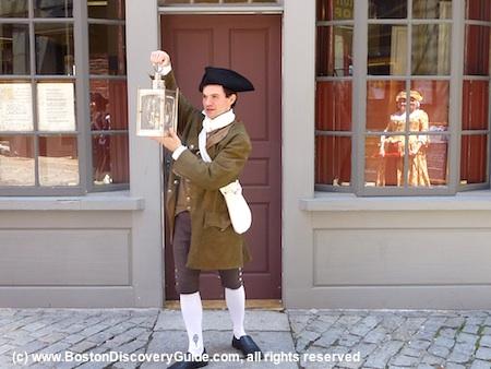 Photo of historic re-enactor outside of Ebenezer Hancock House on Marshall St in Boston