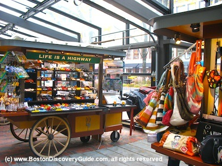 Photo of vendor carts in Faneuil Hall Marketplace in Boston MA
