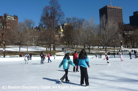 Best Boston activities for winter include ice skating on Frog Pond