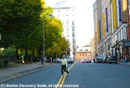 Jaywalking pedestrian on Tremont Street across from Boston Common / Driving in Boston - www.boston-discovery-guide.com