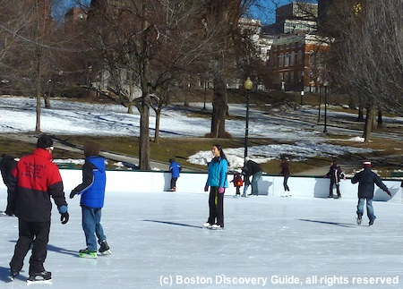 'Skating' across the ice on the Lagoon in Boston's Public Garden / Things to Do in Boston in January - www.boston-discovery-guide.com