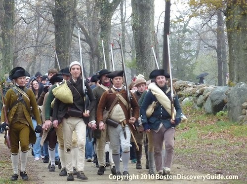 Photo of fife and drum group at Patriots Day reenactment near Boston Massachusetts