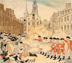 Boston Massacre engraving by Paul Revere - Public Domain
