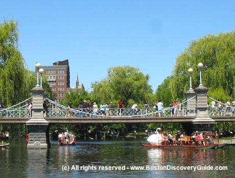 Suspension bridge over Lagoon at Boston's Public Garden