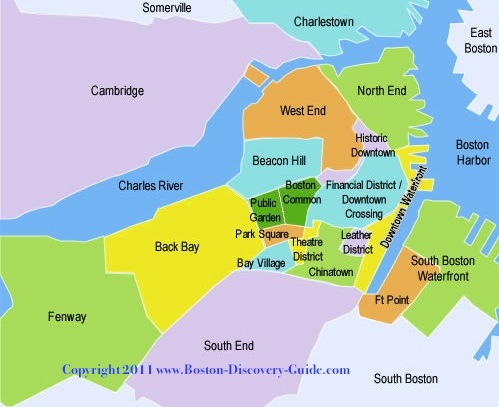 Boston map showing neighborhoods in tourist areas