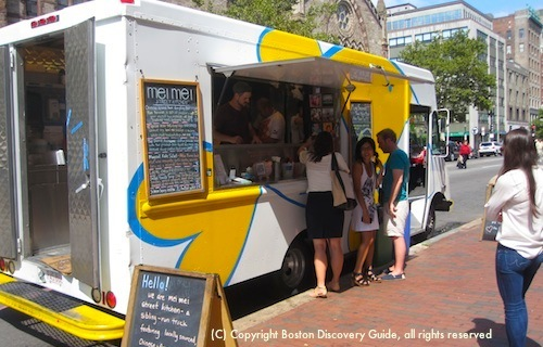 Photo of Mei Mei Street Kitchen food truck parked next to Boston Public Library in Back Bay
