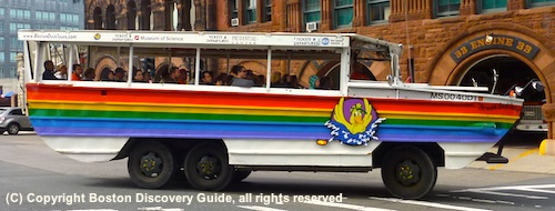 Guide to best Boston sightseeing tours - photo shows a Boston Duck Tour