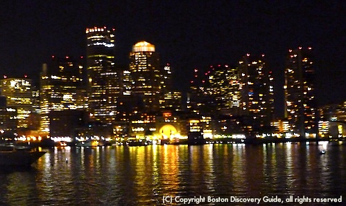 Night view of Boston from Spirit of Boston dinner cruise
