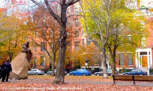 Photo - Commonwealth Mall near the Eliot Hotel Boston in autumn