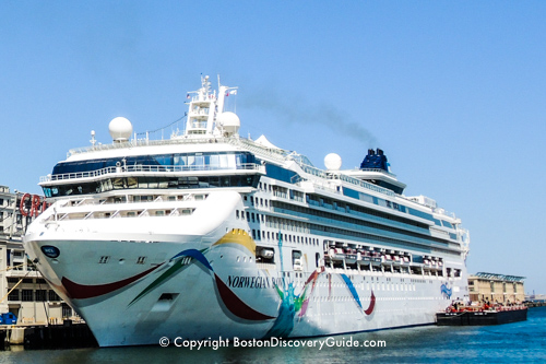 Norwegian Dawn outside Boston's cruise port