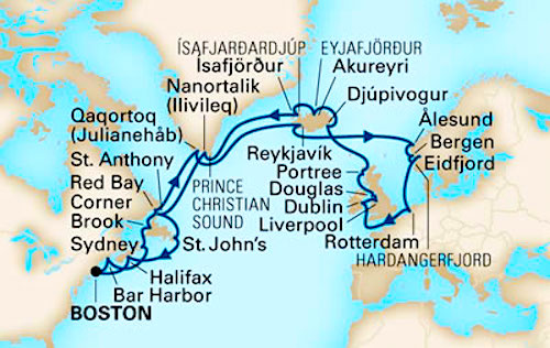 Typical route: Boston to Europe Cruise on Holland America