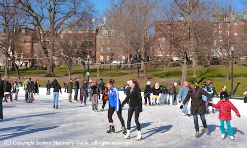 Photo of Ice skating on Boston's Frog Pond on a beautiful January morning