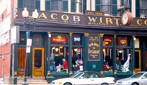 Photo of Jacob Wirth, historic German restaurant in Boston's Theatre District / Theatre District Restaurants - www.boston-discovery-guide.com