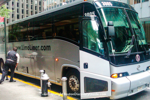 LimoLiner bus to New York, about to leave Boston