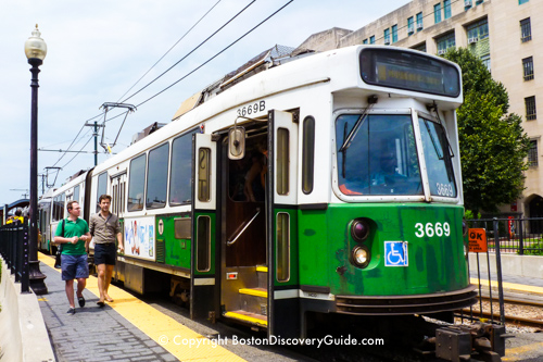 Boston's Green Line subway above ground near Boston University