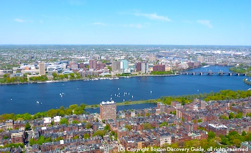 Panoramic views of Back Bay, Beacon Hill, the Charles River, and Cambridge from the Top of the Hub in Boston's Prudential Building