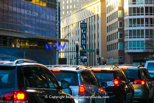 Traffic jam at rush hour on Boston's Stuart Street
