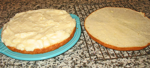 Boston cream pie recipe - shows dessert being made - from boston-discovery-guide.com