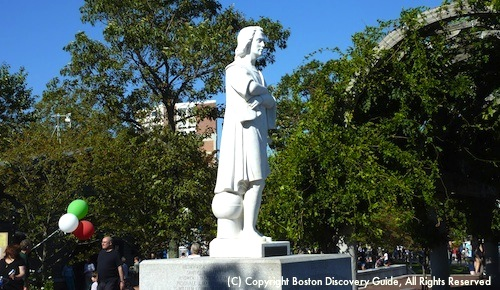 Columbus Day in Boston - Statue of Christopher Columbus in Christopher Columbus Park in Boston's North End