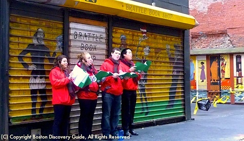 Carolers in front of Brattle Book Store in Downtown Boston